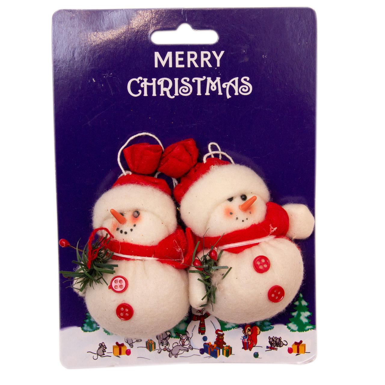 Набор елочных игрушек - мягкая фигурка снеговик, 2 шт, 7 см, красный, текстиль (000050-2)