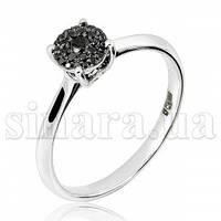 Кольцо из белого золота с черными бриллиантами 26867