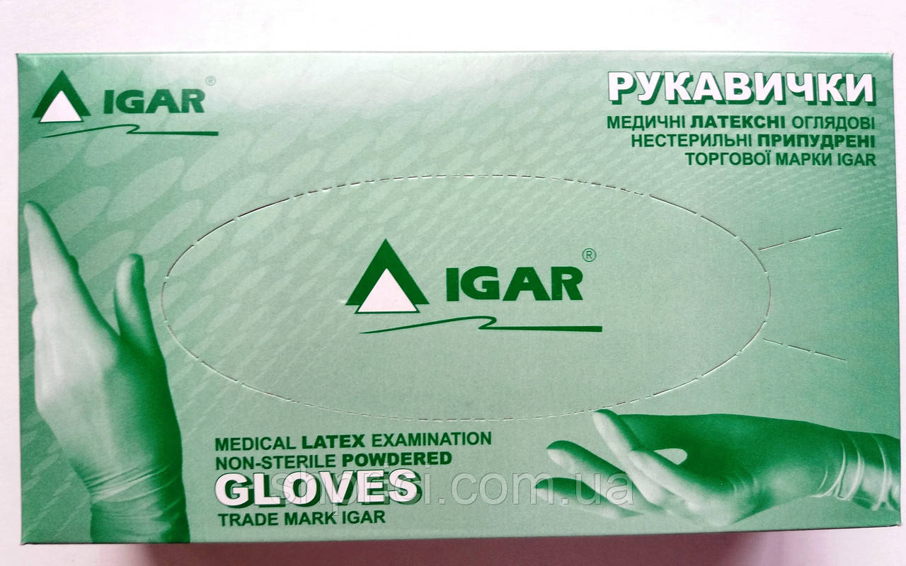 Перчатки латексные нестерильные опудренные / размер L / ИГАР