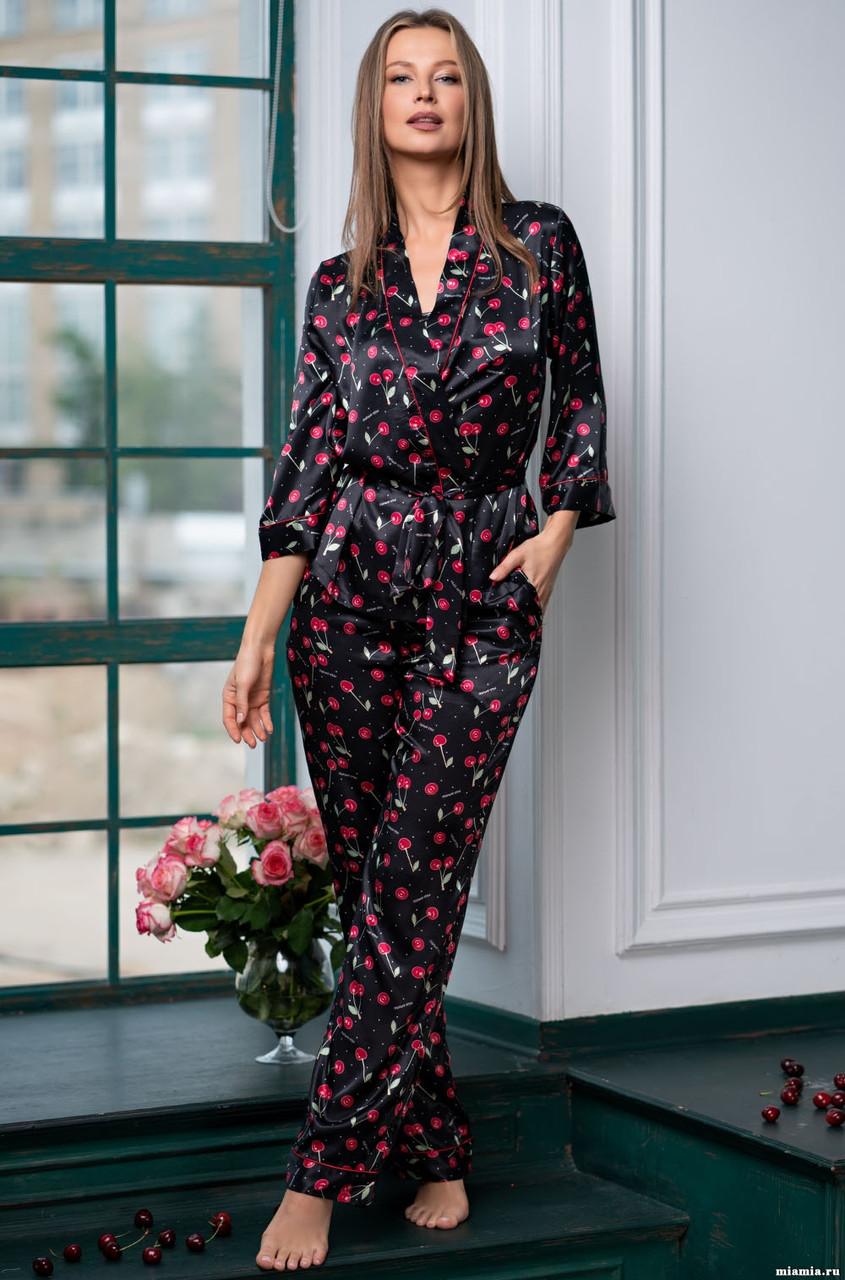 Женская пижама с вишнями  Италия. Mia Mia CHERRY 8686