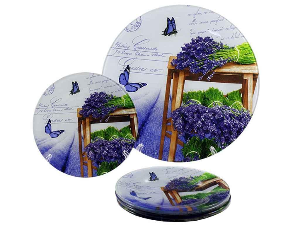 """Набор для торта 7 предметов стекло Лаванда BLUE S 027 """"LUMINES"""""""