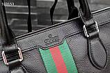 Сумка деловая, портфель от Гуччи, кожаная реплика, фото 6