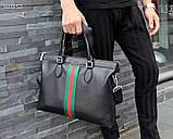 Сумка деловая, портфель от Гуччи, кожаная реплика, фото 8