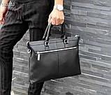 Сумка деловая, портфель от Гуччи, кожаная реплика, фото 9