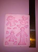 Молд силиконовый для пластики мастики  глины человечки дети 2Д