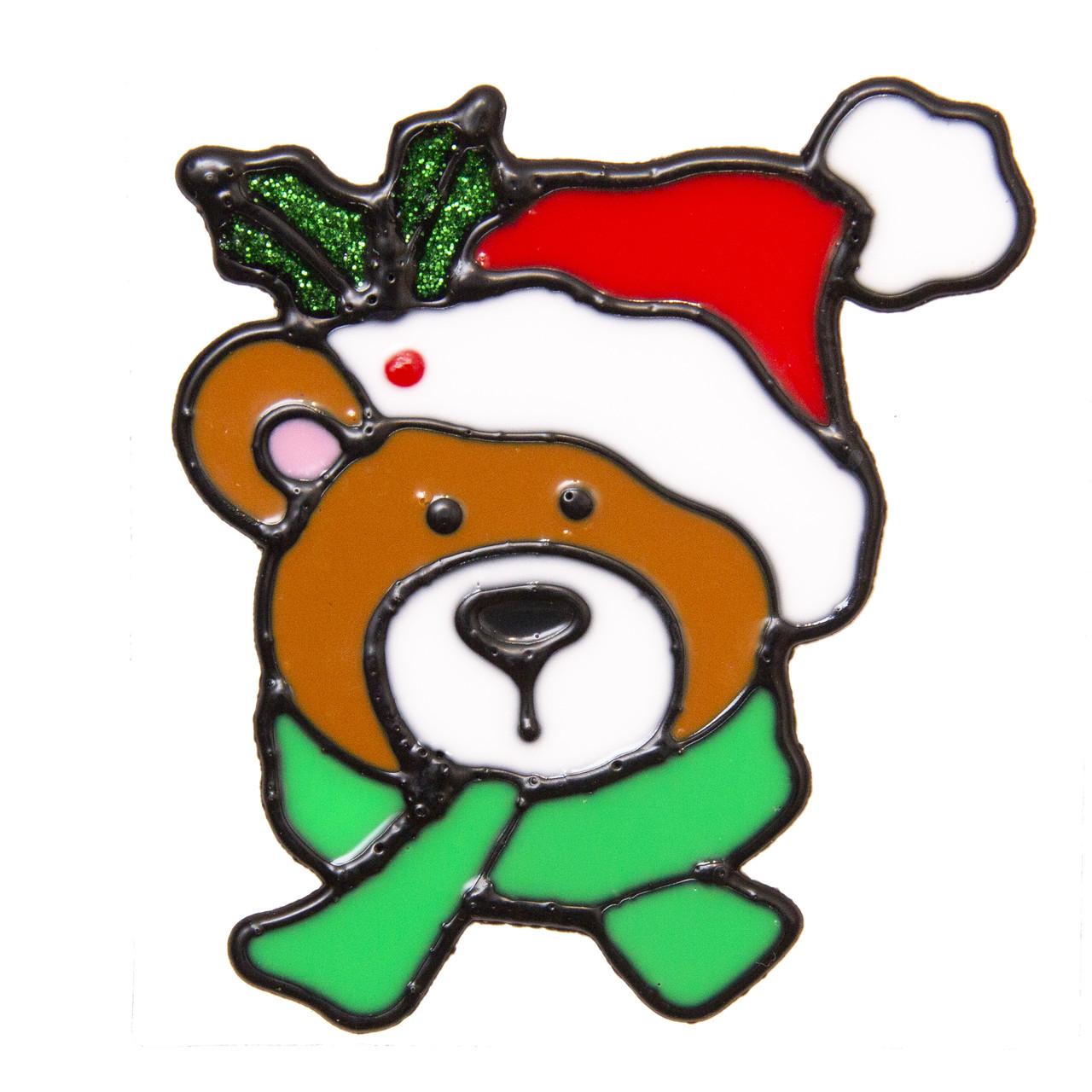 Новогодняя наклейка на окно, 10*10см, лицо медведя, (000456-1)