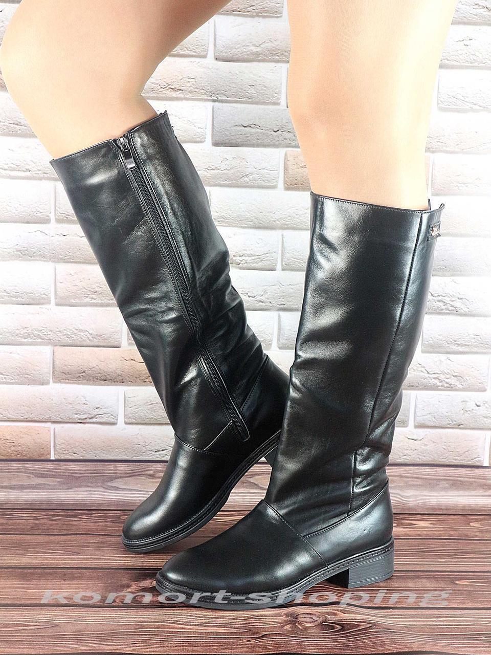 Сапоги кожаные  женские, черные V 829