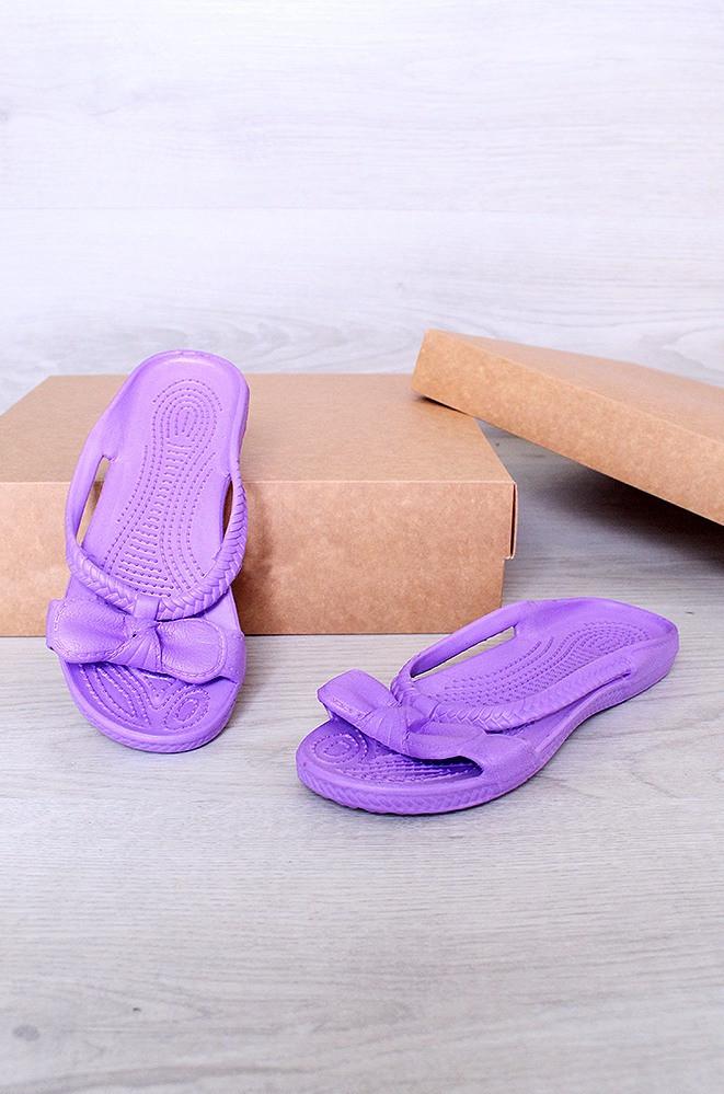 Тапочки пена бантик фиолетовые