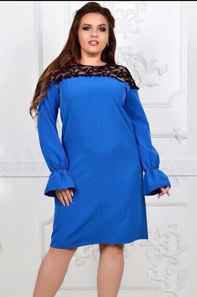 Платье женское гипюр синее 17049
