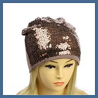 Трикотажная шапка с пайетками, фото 1