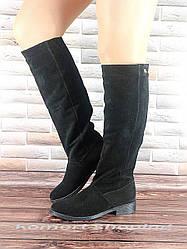 Женские сапоги замшевые, черные V 826