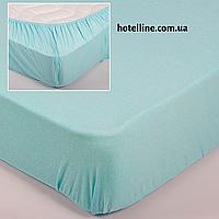 Простынь трикотажная на резинке - светло голубой 160*200+25