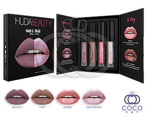 Набор жидких матовых помад Huda Beauty Matte & Strobe Minis Lip Set Cool Pinks (Medusa)