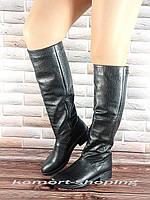 Женские сапоги кожаные, черные рептилия V 826