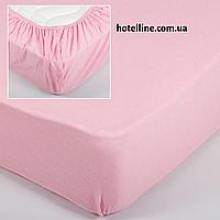 Простынь трикотажная на резинке - Розовая 160*200+25