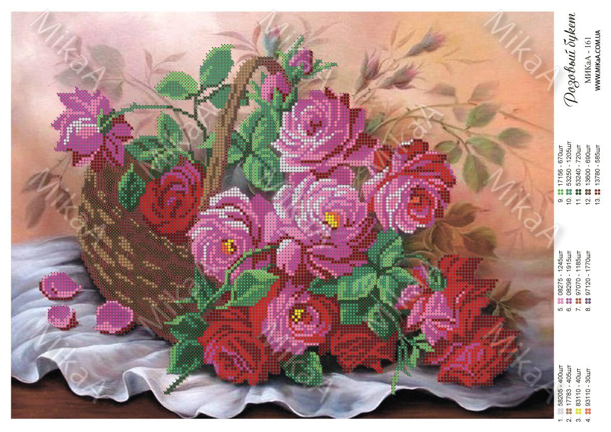 """Схема для частичной зашивки бисером - """"Розовый букет"""""""