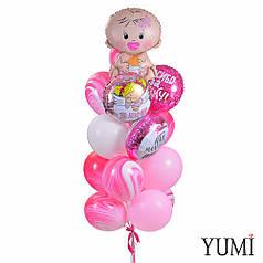 Связка: пупс Девочка, 3 круга: Спасибо за дочку, Это девочка, Наш маленький ангел и 13 шариков