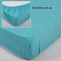 Простынь трикотажная на резинке - Бирюзовая 160*200+25 см.