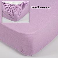 Простынь трикотажная на резинке - Лиловая 160*200+25 см.