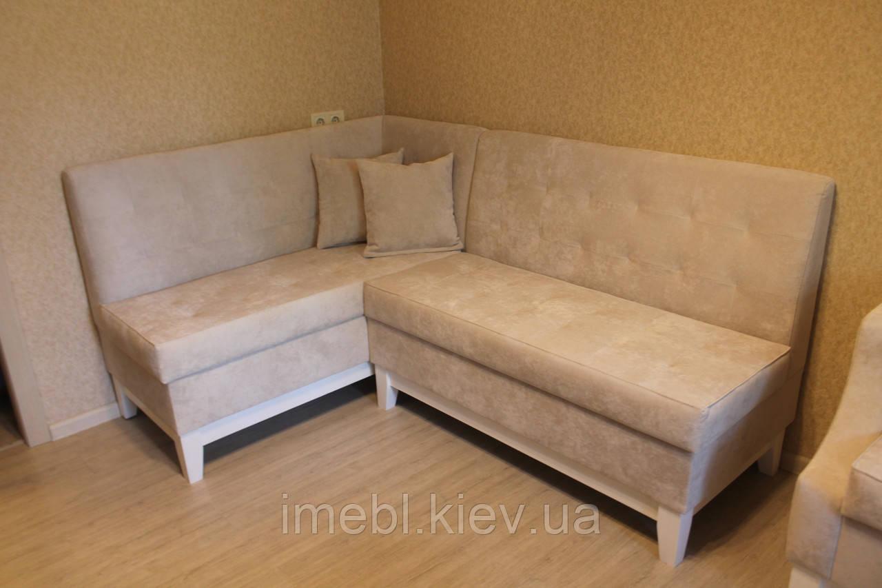 Кухонний м'який куточок та крісло на дерев'яних ніжках (Світло-бежевий)