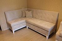 Кухонний м'який куточок та крісло на дерев'яних ніжках (Світло-бежевий), фото 1