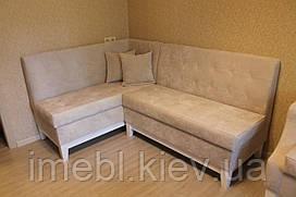 Кухонный мягкий уголок и кресло на деревянных ножках (Светло-бежевый)