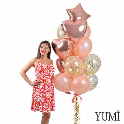Воздушные шары для девушки в цвете розовое золото, фото 2