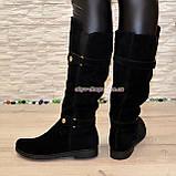 Замшевые черные женские сапоги на низком ходу. Демисезон., фото 2