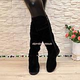 Замшевые черные женские сапоги на низком ходу. Демисезон., фото 4