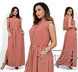 Платье в пол из ткани фай с застежкой на пуговицах вдоль лифа, съемным поясом и резинкой по талии, 2 цвета, фото 2