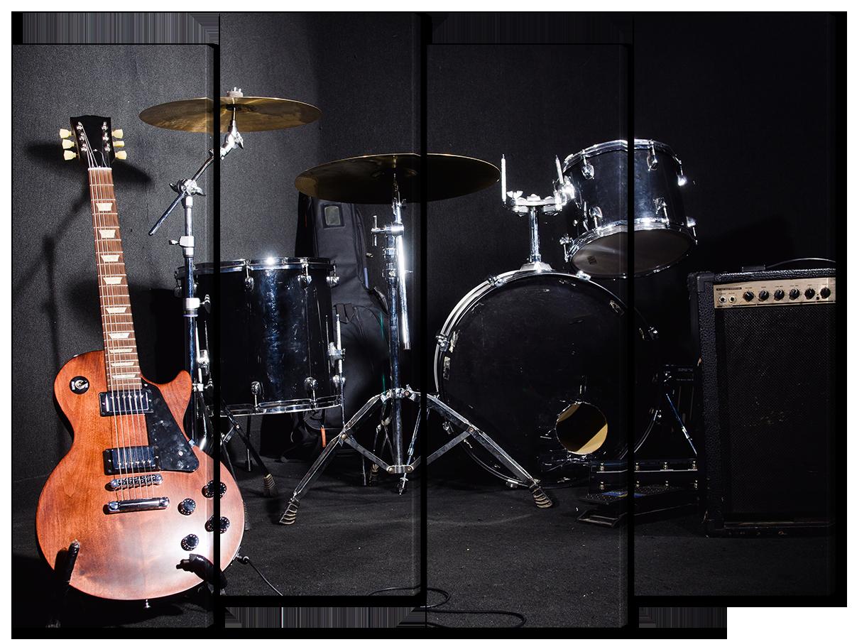 Модульная картина Interno Холст Ударники и гитара  94х69см (R1682S)