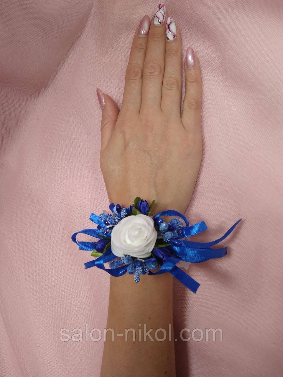 Браслет из роз на руку свидетельнице (маленькая роза бархат синяя).