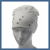 Трикотажная шапка  с отворотом и люверсами, фото 1