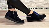 Стильные женские ботинки из натуральной замши синего цвета, фото 2