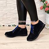 Стильные женские ботинки из натуральной замши синего цвета, фото 3