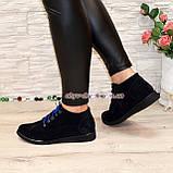 Стильные женские ботинки из натуральной замши синего цвета, фото 4