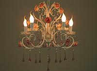 Люстра канделябр 5 рожков Е14, с розами