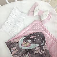 Плед Minky Единорог на сером розовый