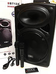 Мощная портативная колонка-чемодан 120Вт UKC BT-12A + 2 микрофона