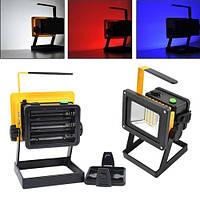 Ліхтар прожектор 204 20LED+4LED (синій+червоний), 3x18650, ЗУ 12V/220V, сирена, комплект, фото 1