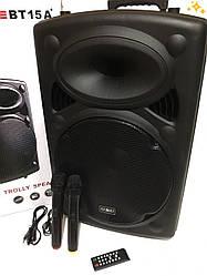 Мощная портативная колонка-чемодан 1000Вт UKC BT-15A + 2 микрофона