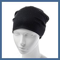 Трикотажная шапка-чулок со стразами, фото 1