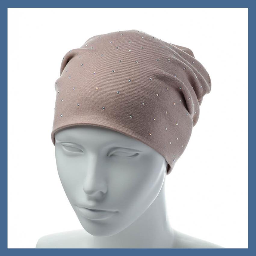 Трикотажная шапка-чулок со стразами