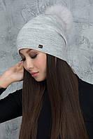 Вязаная шапочка с люрексом Алиса светло-серая