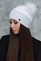 Белая шапочка с люрексом Алиса