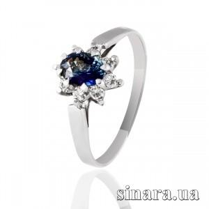 Кольцо с бриллиантом и сапфиром из белого золота Малинка 25417