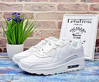 ✅ Кроссовки женские кожаные Nike Air Max 90 Leather All White Найк Аир Макс 90 женские подростковые белые 36