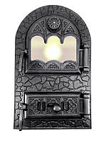 Дверца для печи со стеклом 530 х 330, чугунная печная дверка 102915 с регулировкой подачи воздуха