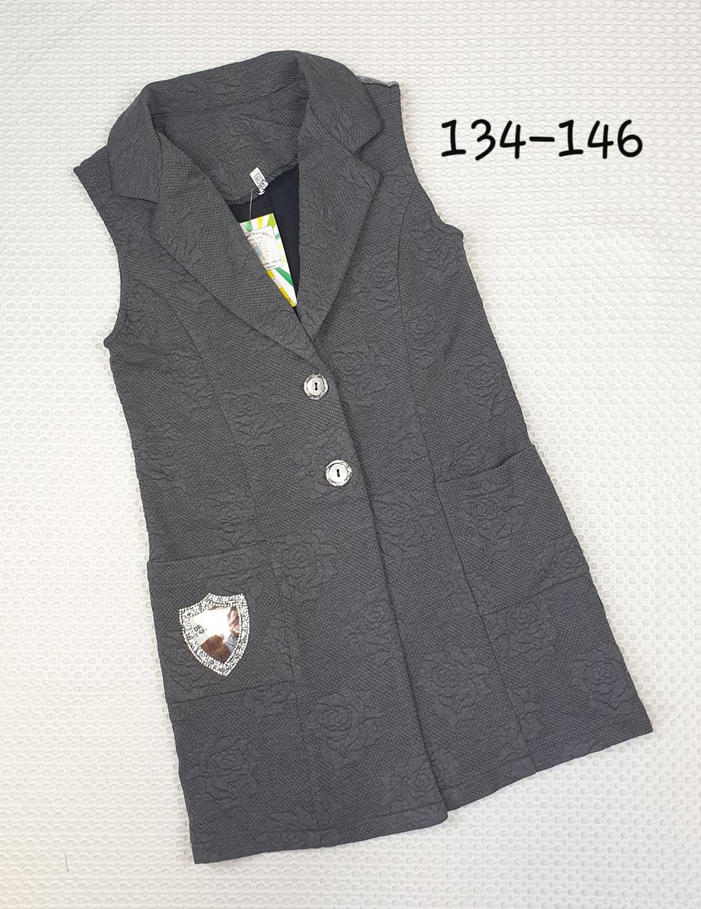 Стильный Кардиган для девочки 134-146  СЕРЫЙ