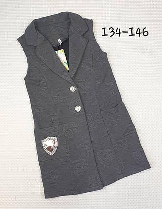 Стильный Кардиган для девочки 134-146  СЕРЫЙ, фото 2
